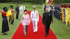 India's Prime Minister Narendra Modi and South Korea's President Park Geun-hye - AFP Photo