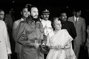 New Delhi, Delhi, India --- Original caption: NEW DELHI: Fidel Castro is met by Indira Gandhi on his arrival at airport. --- Image by © Bettmann/CORBIS